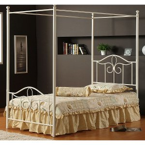 1354btwpr Off White Cottage Metal Twin Canopy Bed Westfield