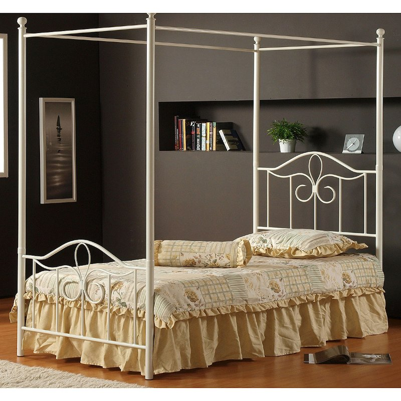 Off White Cottage Metal Twin Canopy Bed Westfield