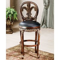 62969 Distressed Cherry 25 Inch Counter Height Stool - Fleur De Lis