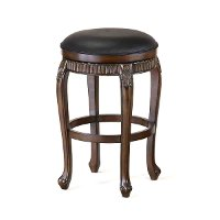 62993 Distressed Cherry 24 Inch Swivel Counter Stool - Fleur De Lis