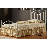 1354BTWMR Off-White Cottage Style Twin Metal Bed - Westfield