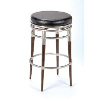 4688-827 Chrome/Dark Brown Maple 26 Inch Swivel Counter Stool - Salem