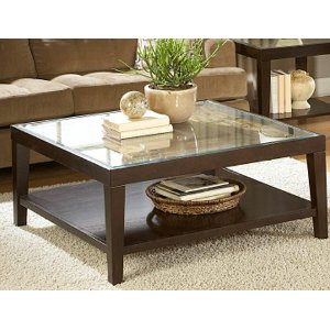 ... Merlot Square Glass Top Coffee Table