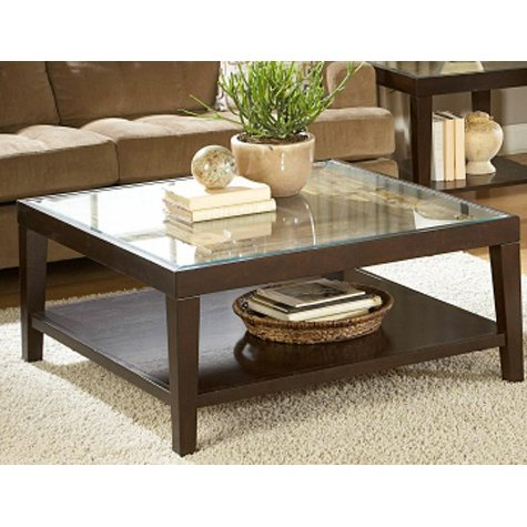 Merlot Square Glass Top Coffee Table RC Willey Furniture Store