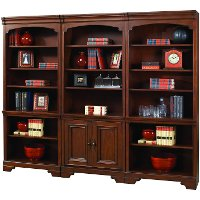 3 Piece Cherry Brown Bookcase Wall - Richmond