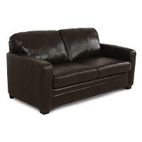 """80"""" Chocolate Brown Leather Queen Sofa Sleeper"""