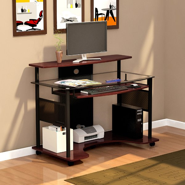Laminate Puter Small Bar For Living Room Home Portable ... Mobile Glass Computer Desk - Cyrus