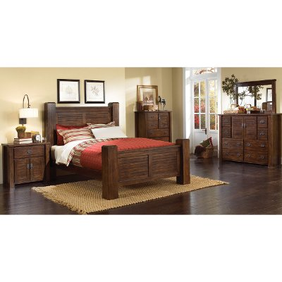 Dark Pine 6 Piece Queen Bedroom Set Trestlewood