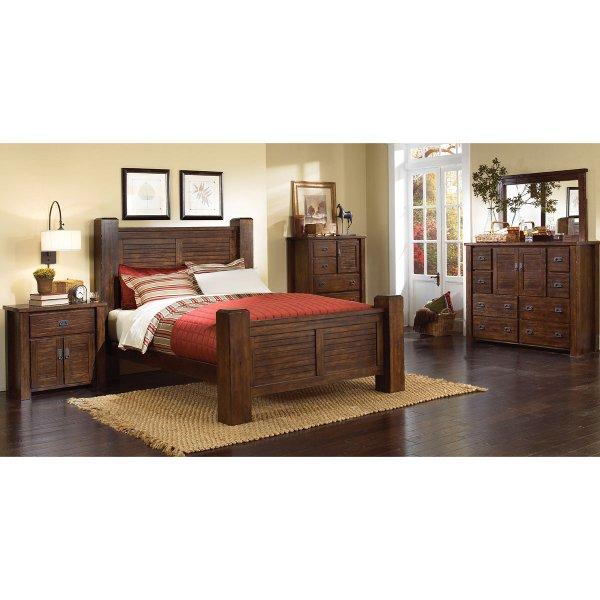 ... Dark Pine 6 Piece California King Bed Bedroom Set   Trestlewood