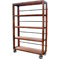 Open Wood and Metal Bookcase On Wheels