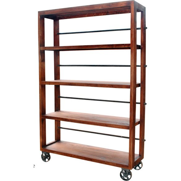 ... Open Wood And Metal Bookcase On Wheels