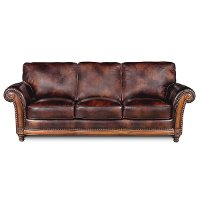 Classic Traditional Brown Leather Sofa - Toberlone