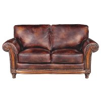 Classic Traditional Brown Leather Loveseat - Toberlone