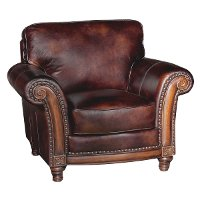 Classic Traditional Brown Leather Chair - Toberlone