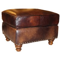 Classic Traditional Brown Leather Ottoman - Toberlone