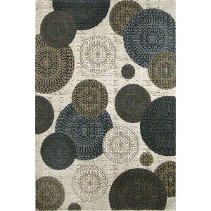 ... 5 X 7 Medium White, Brown U0026 Blue Rug   Mystique