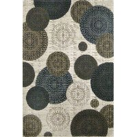 8 x 11 Large White, Brown and Blue Rug - Mystique