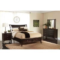 Java Brown Contemporary 4 Piece Queen Bedroom Set - Kensington