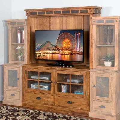 Sunny Designs Oak TV Stand and Hutch Sedona RC Willey Furniture
