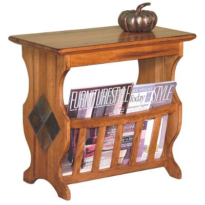 rustic oak magazine rack and end table | rc willey furniture store