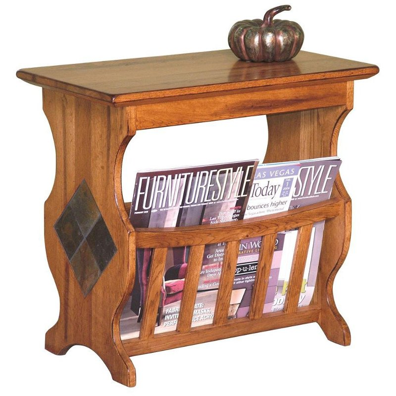 Rustic Oak Magazine Rack And End Table
