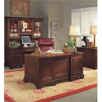 Burgundy Brown Executive Wood Desk - Richmond