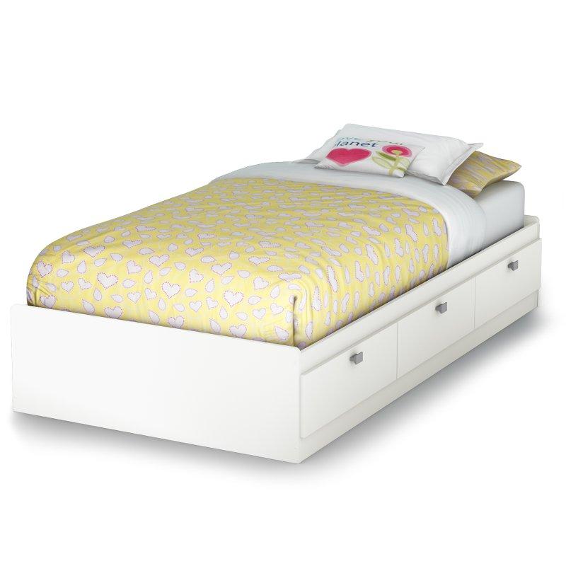 White Twin Storage Platform Bed Sparkling