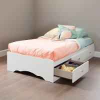 3650212 White Twin Mates Bed  with Drawers - Tiara