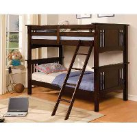 Classic Walnut Twin-over-Twin Bunk Bed - Spring Creek