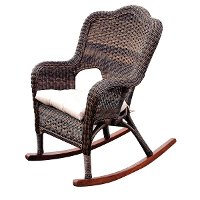 Brown Wicker Rocker with Cushion