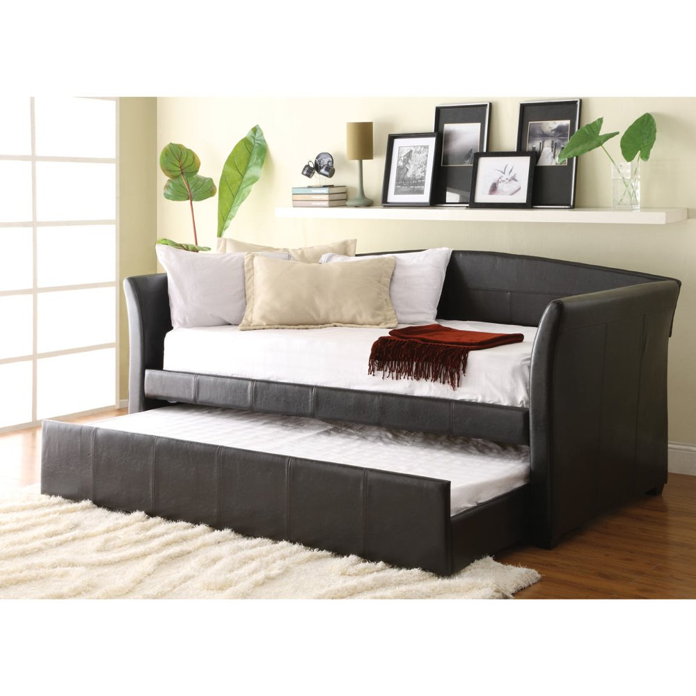 dark brown upholstered day bed with trundle ryan