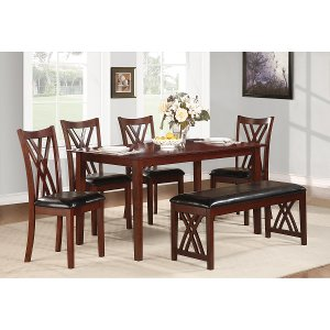 ... Cherry And Black Traditional 6 Piece Dining Set With Bench   Luna