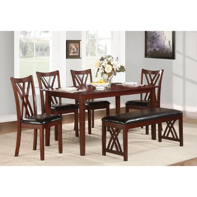 Cherry And Black Traditional 6 Piece Dining Set With Bench   Luna