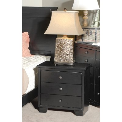 Contemporary Black Nightstand - Diego