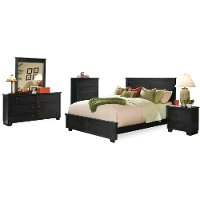 Classic Black 4 Piece California King Bed Bedroom Set - Diego
