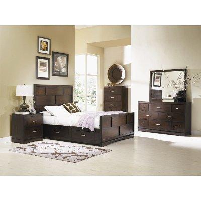 Pecan Brown 7 Piece Queen Bedroom Set   Key West
