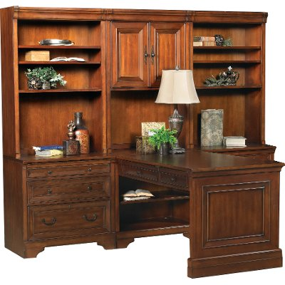 Beau 7 Piece Home Office Desk With Hutch   Richmond