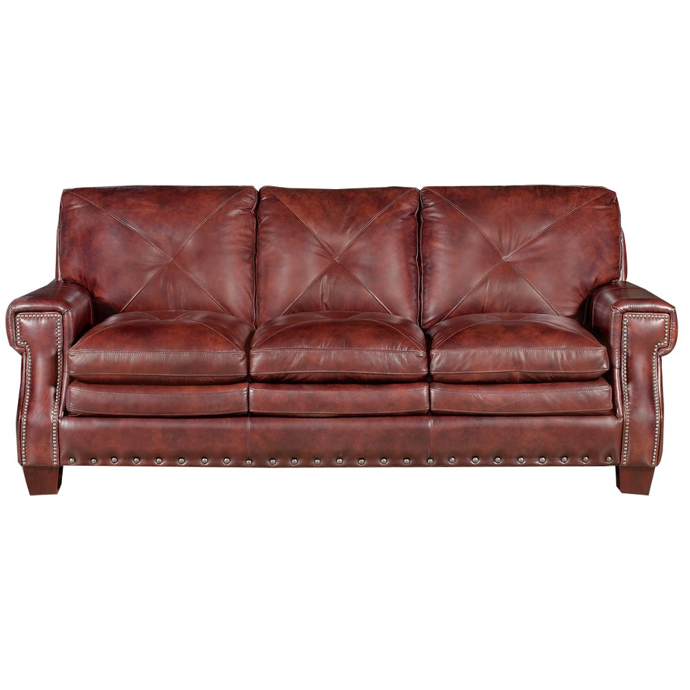 Classic Traditional Burgundy Leather Sofa - McKinney | RC Willey Furniture  Store