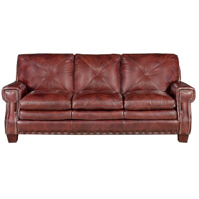 Classic Traditional Burgundy Leather Sofa McKinney RC Willey
