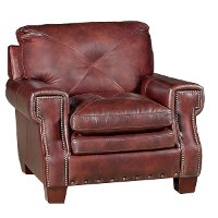 Classic Traditional Burgundy Leather Chair Mckinney Rc