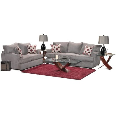 Casual Contemporary Sterling Gray 7 Piece Room Group   City Part 52