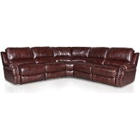 Burgundy Leather-Match 6-Piece Console Sectional - Madison Collection