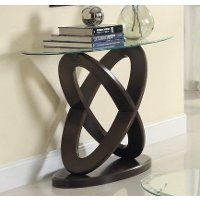 Cherry Brown Glass Top Sofa Table - Firth