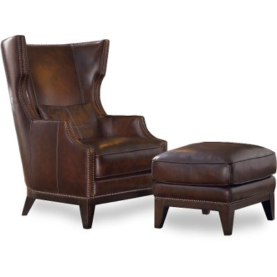 Amazing Classic Espresso Brown Wingback Leather Chair U0026 Ottoman   Picasso