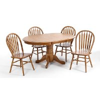 Oak 5 Piece Dining Set - Classic Chestnut Collection