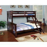 Classic Walnut Twin-over-Queen Bunk Bed - Spring Creek