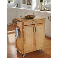 Cuisine Cart Natural Finish with Natural Wood Top - Create-a-Cart