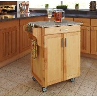 Cuisine Cart Natural Finish with Salt & Pepper Granite Top - Create-a-Cart