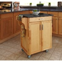 Cuisine Cart Natural Finish Black Granite Top - Create-a-Cart