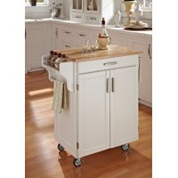 White Kitchen Cart with Natural Wood Top - Create-a-Cart
